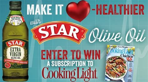 Sweepstakes Entries Online - win a free cooking light magazine 6 month subscription