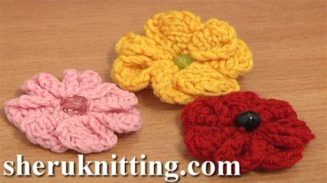 Knitted Flower Pattern Youtube | knitting 7 petal flower tutorial 3 easy knitting patterns
