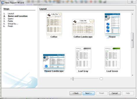 jenis layout pada report wizard membuat laporan pada sistem informasi minimarket