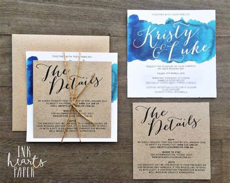 Water Themed Wedding Invitations by Wedding Invitations Ink Hearts Paper Blue Aqua