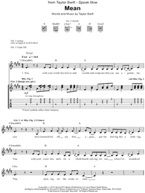 taylor swift mean lyrics and piano chords taylor swift mean chords key of e