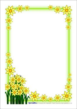 St David S Day Daffodil A4 Page Borders Sb1248 Flowers A4 Page Borders