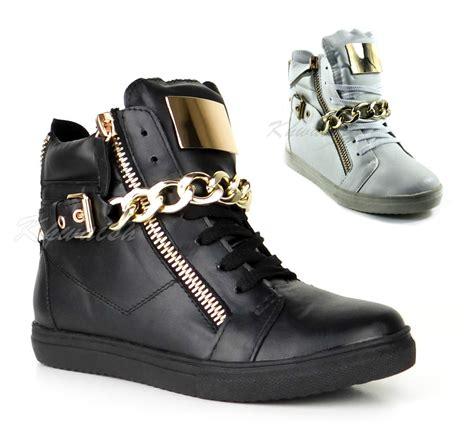 High Top Platform Sneakers womens gold chain plate hi high top platform