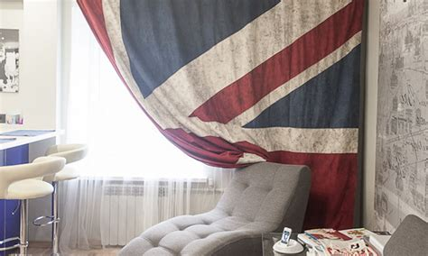 union jack bedroom curtains colourful and travel inspired young couple s apartment