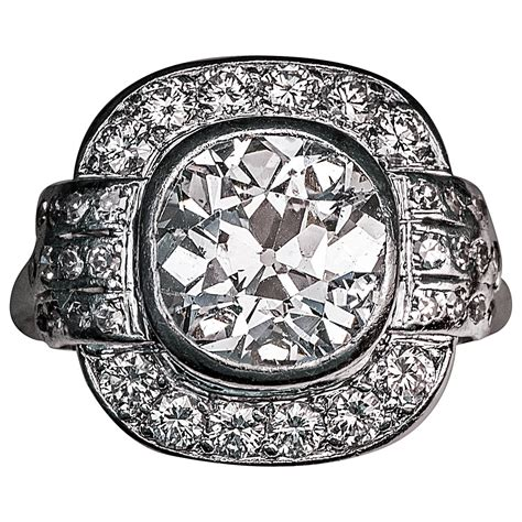 3 deco rings deco 3 carat platinum engagement ring for sale