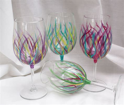 cafe design wine glass hand painted wine glasses kitchen tableware home decor