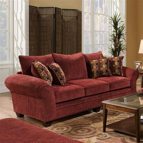 Burgundy Loveseat by Chelsea Home Clearlake Casual Masterpiece Burgundy Sofa At