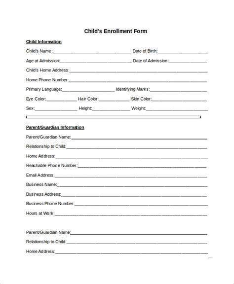 9 Sle Enrollment Forms Sle Templates Child Care Enrollment Form Template