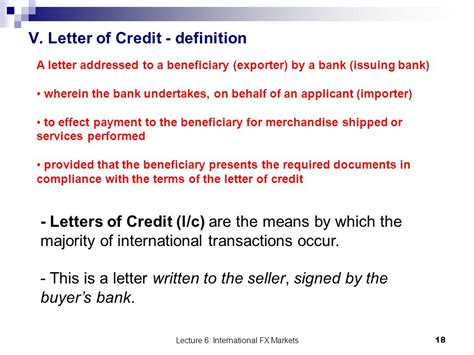 Letter Of Credit Banking Definition International Finance And Payments Ppt