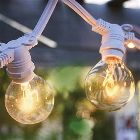 Bag Import Ready White G40 25 socket commercial outdoor string light kit w g40 globe clear bulbs 29ft ex ebay