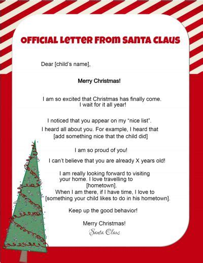 free printable letter from santa personalized free letters from santa