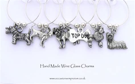 pug gifts emporium yorkie westie pug poodle top wine glass charms