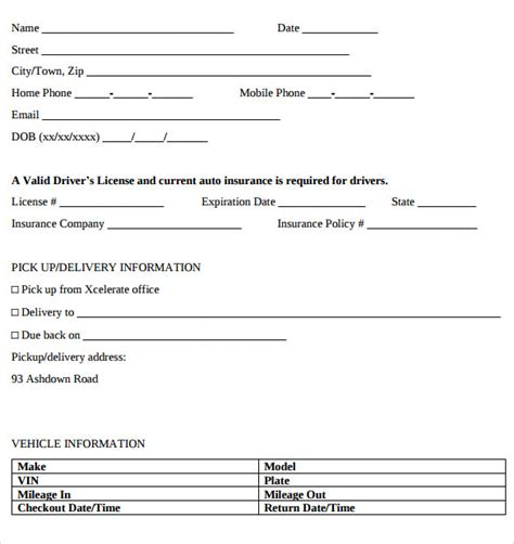 rental car agreement template car rental agreement templates 11 free documents in pdf