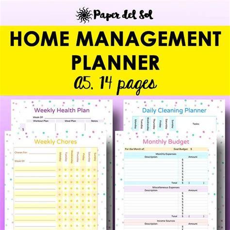 printable home organization binder a5 home management binder printable household planner