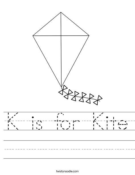 kite coloring pages for kindergarten k is for kite worksheet twisty noodle