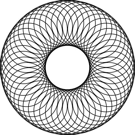 pattern art circle 48 overlapping circles about a center circle and inside a
