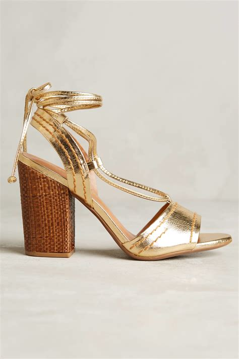 Dress Vicenza vicenza beatriz gold lace up heels in metallic lyst