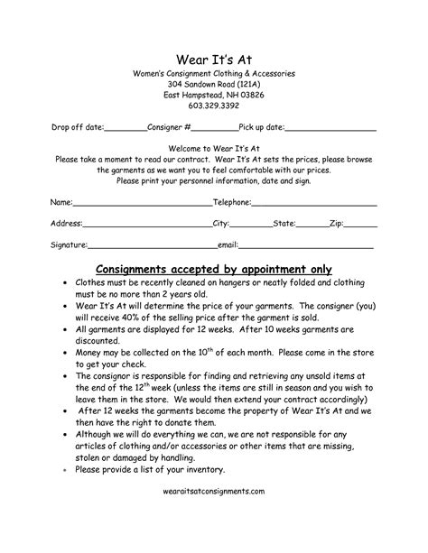 consignment store contract template clothing consignment contract template scope of work