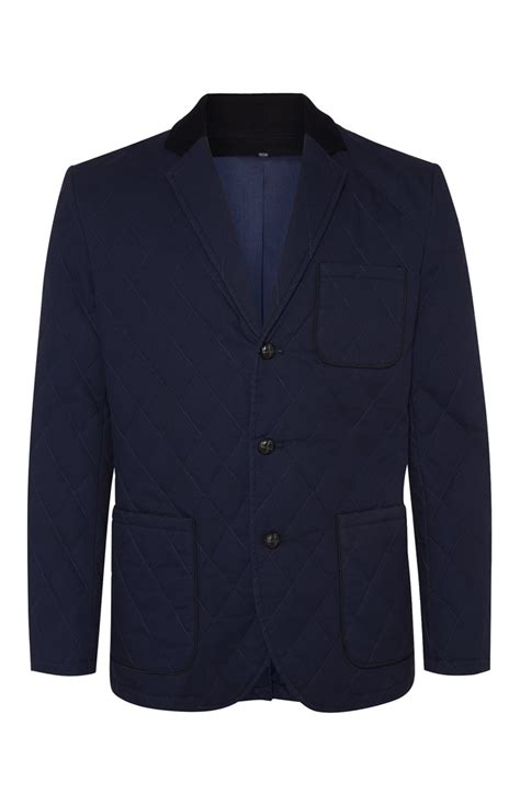 Primark Quilted Jacket by A Choice For Your Professional Wear Navy Quilted