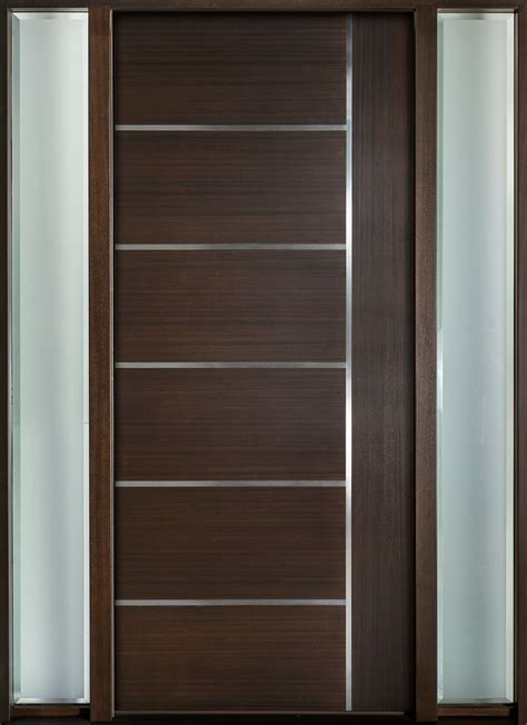 modern wood door entry door in stock single with 2 sidelites modern euro technology with walnut finish