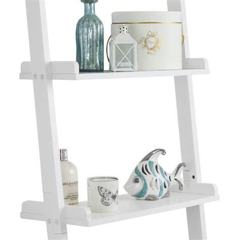 5 Tier Leaning Wall Shelf by Hartleys 5 Tier White Leaning Ladder Wall Shelf Shelving Bookcase Display Unit Ebay