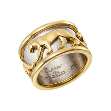 Get The Look Camerons Panther Ring by Estate Cartier 18k Gold Wide Panther Band Ring Betteridge