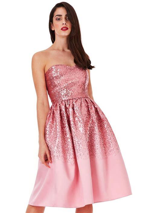 Sweetheart Dresses by Sweetheart Neckline Sequin Midi Dress Pink Dresses