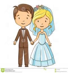 Cartoon style bride and groom stock vector image 40783686