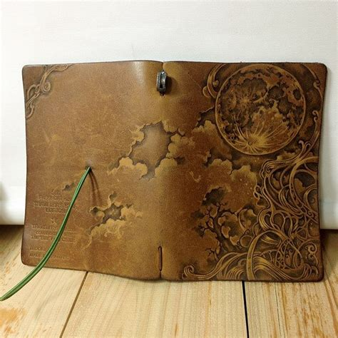 One Fifth Leather Travelers Notebook pyrography on leather notebook cover midori traveler s notebook customize 5th anniversary
