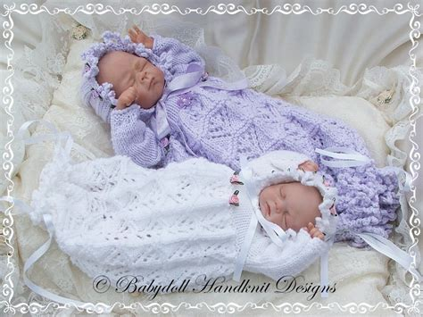 preemie baby clothes knitting lacy bunting bonnet 9 14 inch doll preemie baby bunting