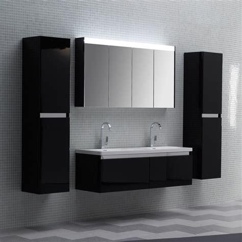 lusso stone noire double designer bathroom wall mounted vanity unit  vanity units