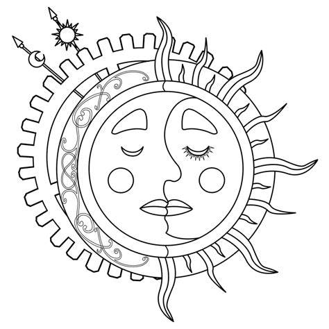 coloring page of sun and moon sun and moon coloring pages to download and print for free