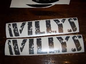 jeep wrangler willys decal set