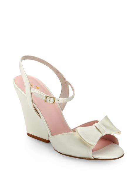 kate spade new york imari satin bow wedge sandals in white