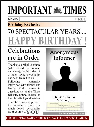 Newspaper Birthday Card 70th Birthday Poems And Quotes Quotesgram