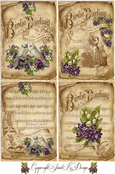 Decoupage Printables - vintage sheets purple and vintage sheet on