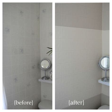 Badezimmer Fliesen Lackieren by Before And After Horizontal Stripes Paint Plastic Wall