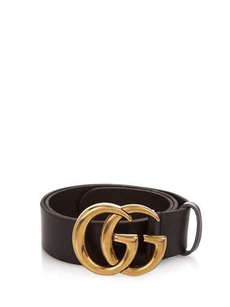 gucci gg logo leather belt in black lyst