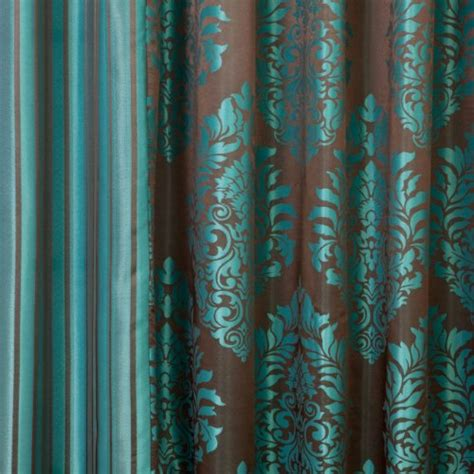 Brown And Teal Curtains Best Home Fashion Teal Wide Width Damask Jacquard Grommet Curtain 90 Quot W X 84 Quot L Ebay