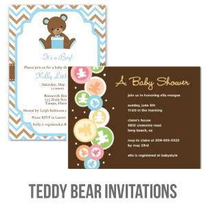 The Cutest Baby Shower Invitations Cutestbabyshowers Com Teddy Baby Shower Invitations Templates Free