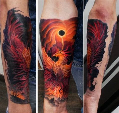 phoenix tattoo with fire 70 creative tattoos for men unique design ideas