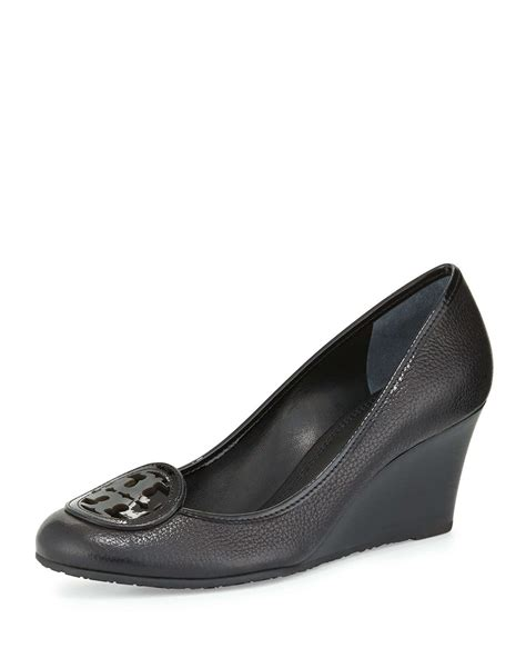 Burch Wedges Shoes Logo Hitam burch louisa logo wedge in black lyst
