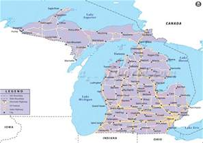 Detailed Map Of Michigan by Map Of Michigan State Map Of Usa