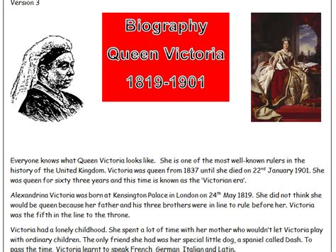Biography Queen Victoria Ks2 | newromantic s shop teaching resources tes