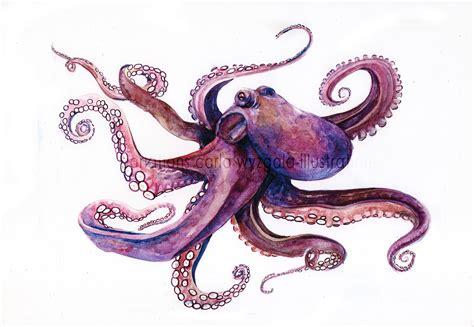 printable octopus art purple octopus art print by carlationsart on etsy