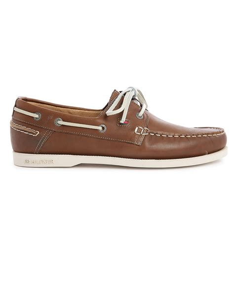 hilfiger shoes for hilfiger camel leather chino boat shoes in brown for