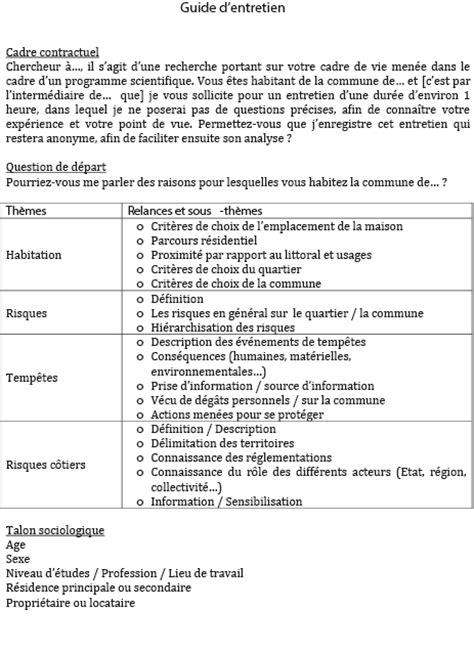 Grille D Entretien Semi Directif Exemple les entretiens semi directifs individuels fran 231 ais