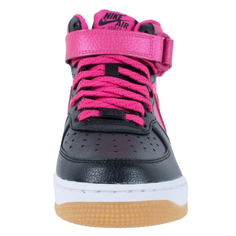 pink and white basketball shoes nike air 1 mid gs basketball shoes black