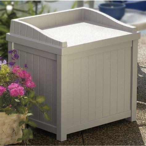 storage for patio suncast 174 storage seat 138467 patio storage at sportsman