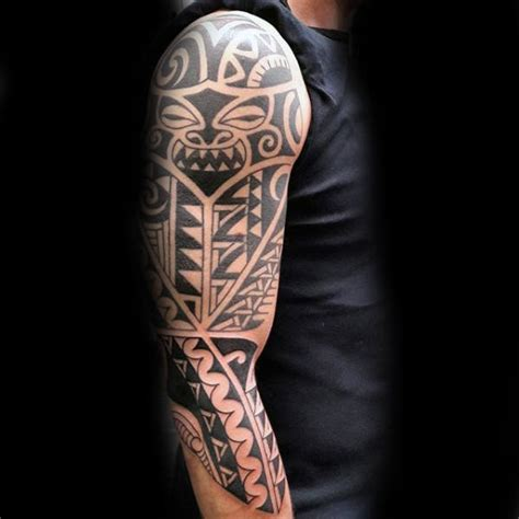 mens tribal half sleeve tattoos 90 tribal sleeve tattoos for manly arm design ideas